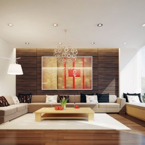 Neutral Living Room with Walnut Floor Design