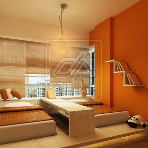 Orange Bedroom with Two Kids Bed Design