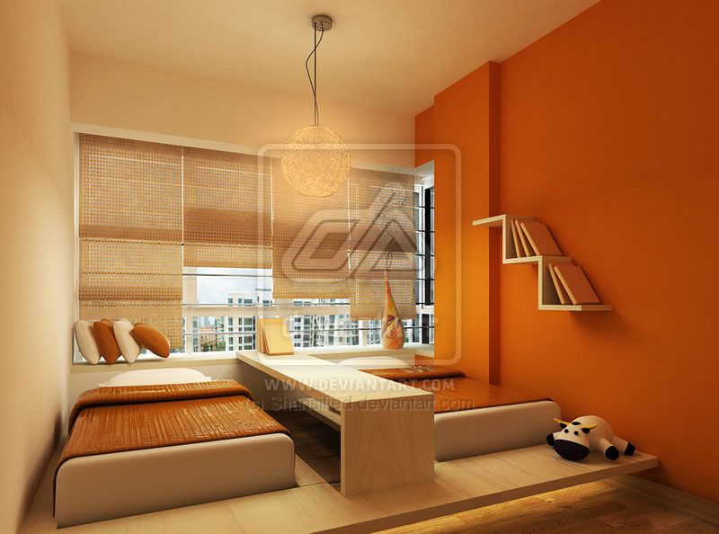 Orange bedroom with two kids bed design interior design ideas - Bedrooms images ...