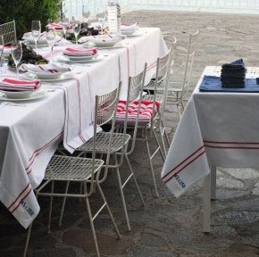 Outdoor Dinning Areas with White and Red Table Cloth