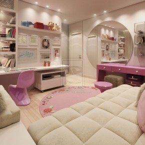 Pink nad White Super Girly Room with Round Wall Mirror Ideas