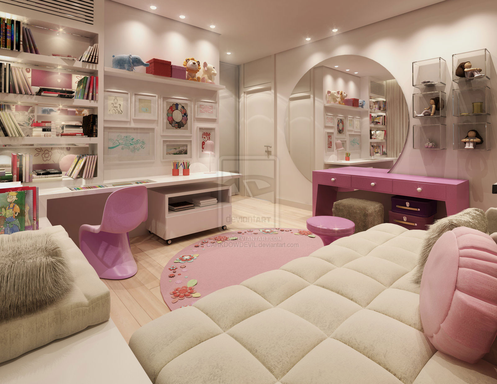 Pink nad white super girly room with round wall mirror for Girly bedroom designs