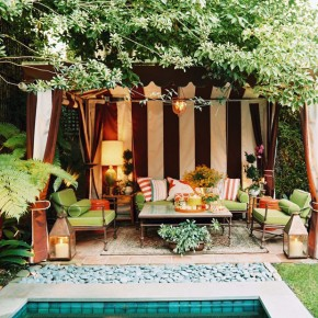 Pondside Striped Cabana Outdoor Decorating
