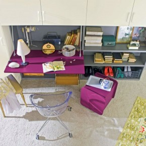 Purple Study Desk for Girl with Acrilic Chairs