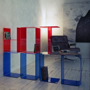 Red Blue Acrylic Letter Shelves Design