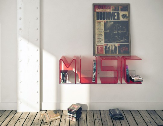 Red Music Shelf Design Inspirations