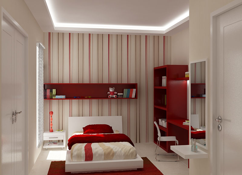 Red and White Girly Room With a Feature Wall