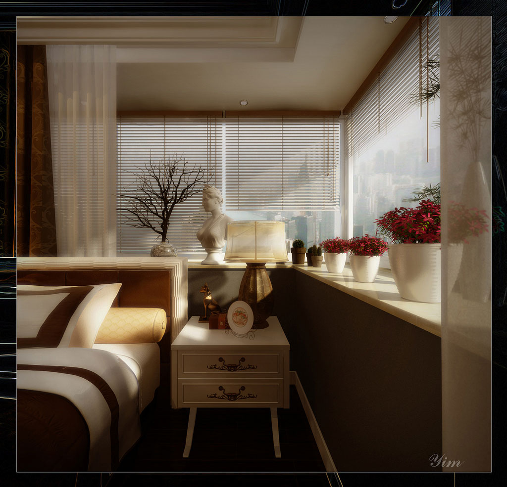 Shining Bedroom Beside Table View with Minimalist Curtains