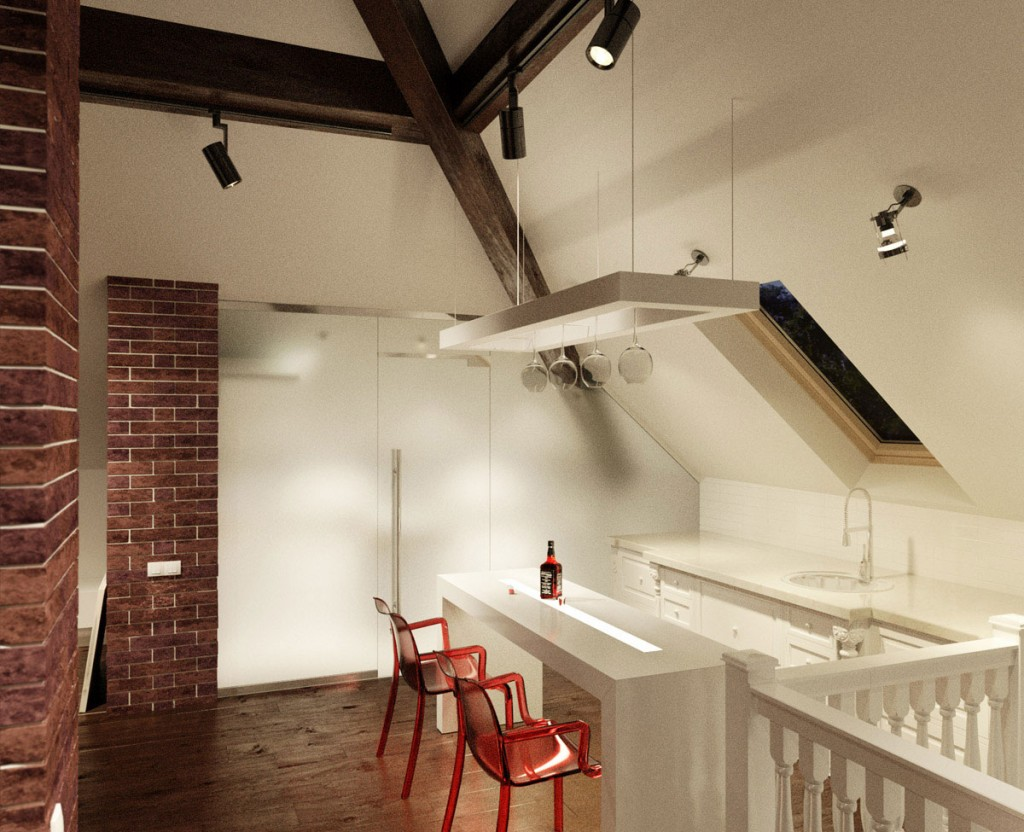 Small Apartment Kitchen with Brickwall Decor and Sloped Ceiling