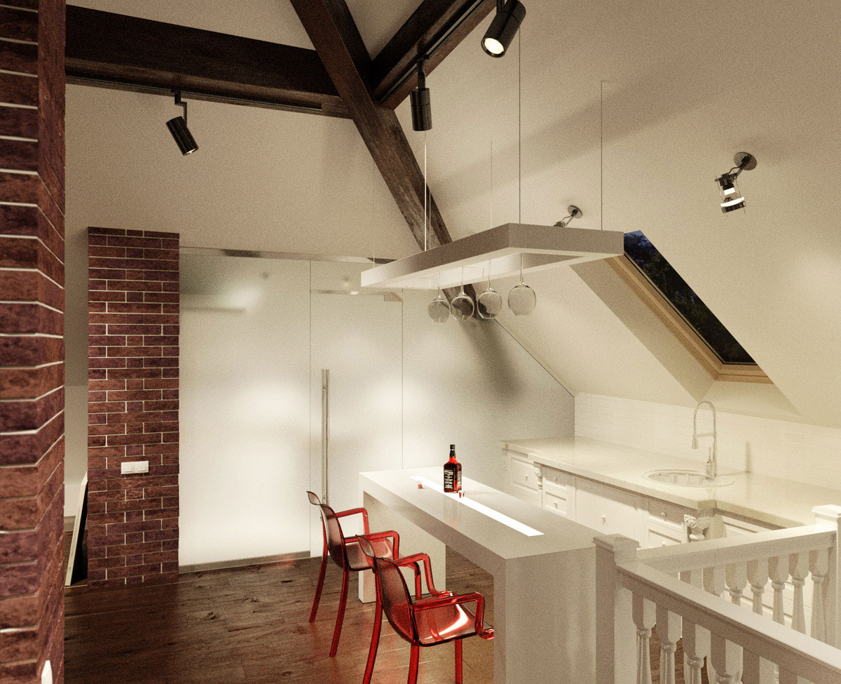 Small Apartment Kitchen With Brickwall Decor And Sloped