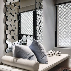 Small Kids Bedroom with Unique Round Mirror Ideas