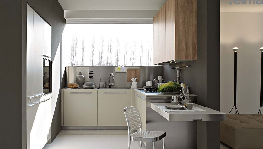 Small and Practical Kitchen Combine White and Wood Furniture