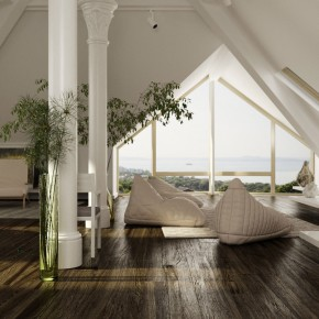 Stylish Living Areas with Wooden Floor and Sloped Ceiling