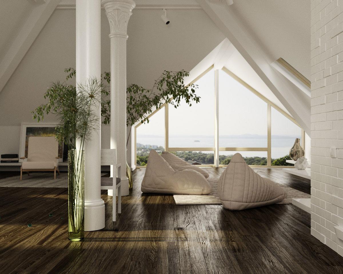 Beautiful sloped ceiling design interior design design for Slanted ceiling design ideas