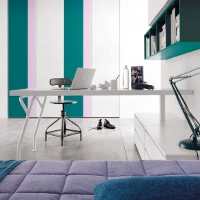 Teal Lilac Stripe Wall Decor for Tee Bedroom
