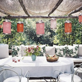 Tropical Garden Lanterns Pergola