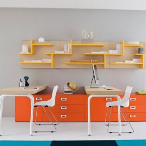 Twin Study Desk with Bright Orange Yellow Color Ideas