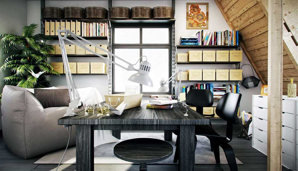 Vintage Workspace Deisgn with Sloping Ceiling