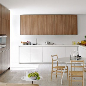 Warm Heart Pine Furniture in White Kitchen