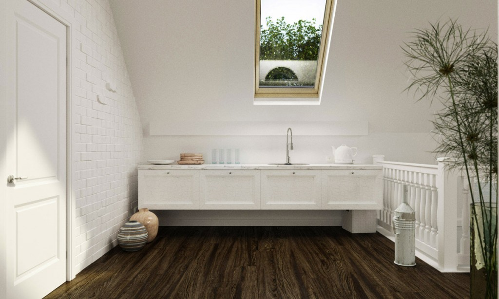 White Attic Kitchen with Sloped Ceiling