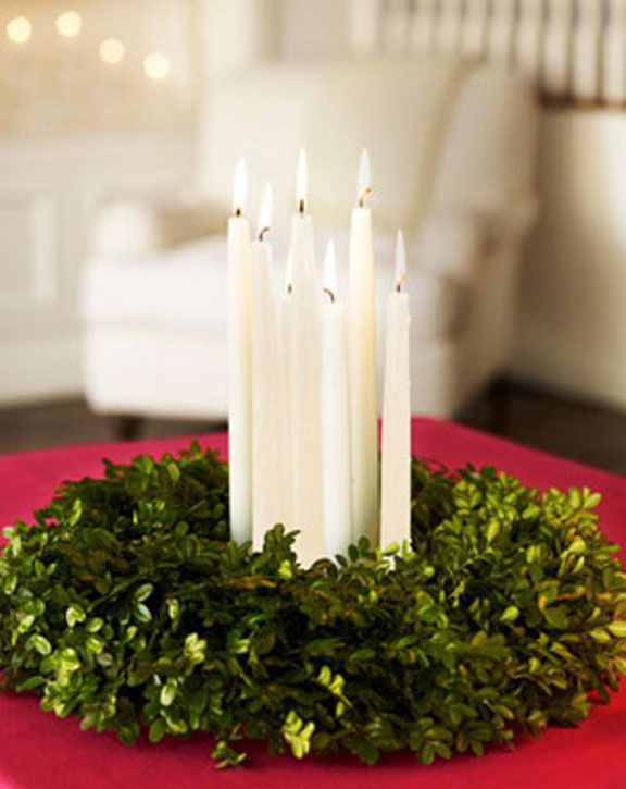 White Candle Christmas Green Flower Arrangements