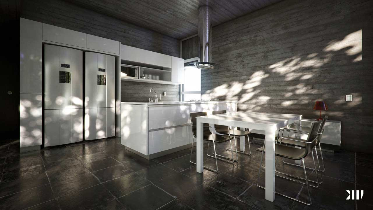 White Kitchen Diner with Wood Wall Decor