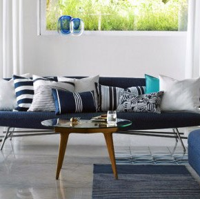 White and Blue Accents Living Room Design
