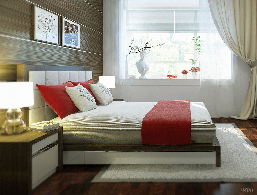 White and Red Bedroom with Wall Feature Ideas
