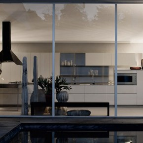 White and Wallnut Furniture Kitchen with Large Glass Wall