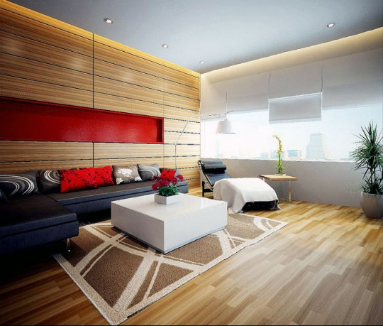 Amazing Home Design Interiors 2012: Wood Panel with Red Accent Living Room Design