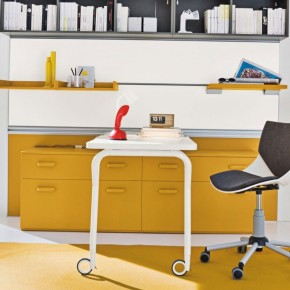 Yellow Furniture in Grey Kids Study Room