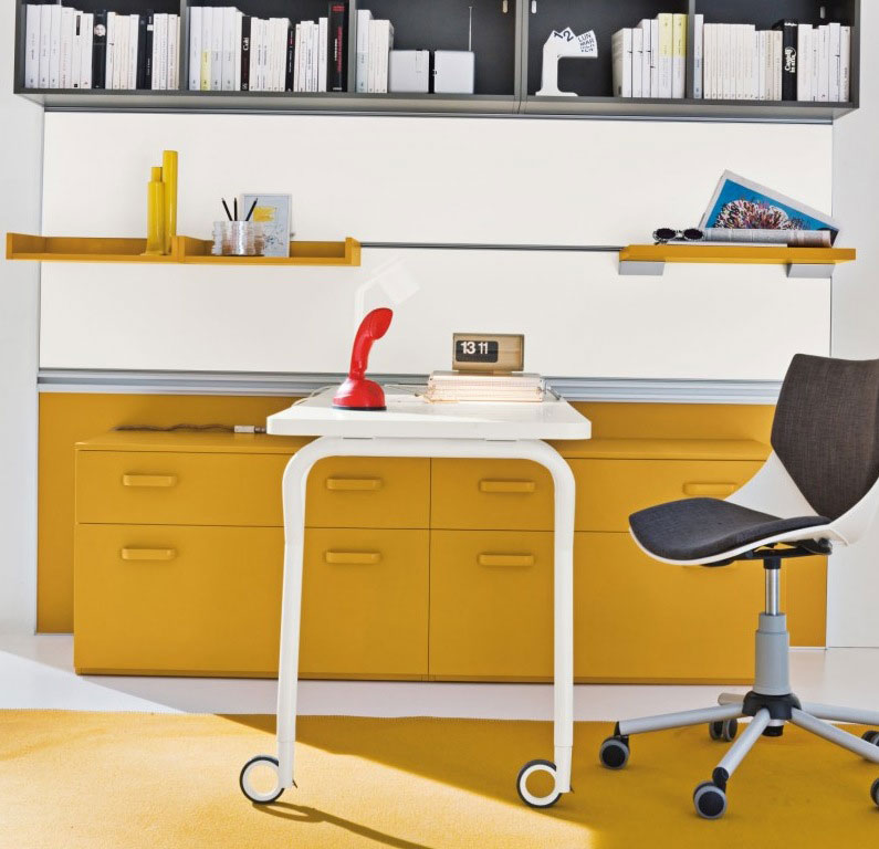 Yellow Furniture In Grey Kids Study Room Interior Design