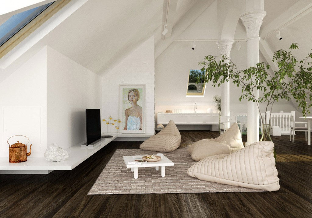 white living room in loft with slooping ceiling