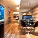 Beautiful Wood Dining Room with Aquarium