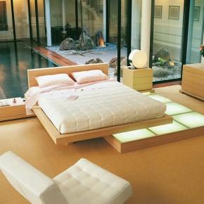 Beech Wood Platform Bedroom Beside Small Pool Ideas