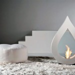 Big Flame Modern White Teardrop Fireplace Design