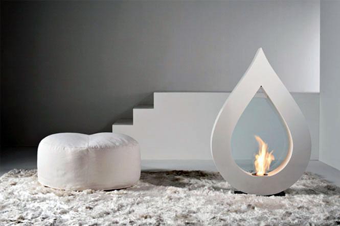 Big Flame Modern White Teardrop Fireplace Design