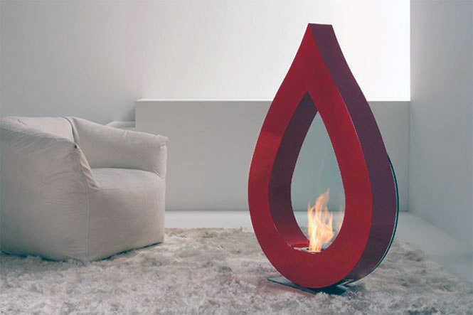 Big Flame Red Teardrop Fireplace Ideas
