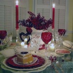 Classic Table Decor with Red Chandelier and Glass
