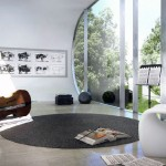 Contemporary Music Room with Large Glass Wall Ideas