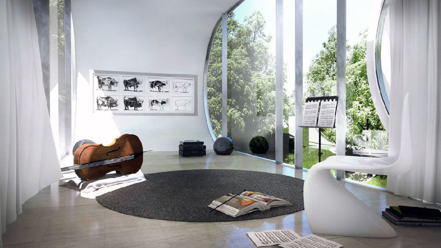 Contemporary music room with large glass wall ideas for Room decorating ideas music