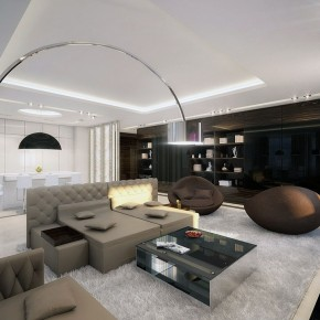 Cool Open Living Room with Beige Sofa and White Rugs