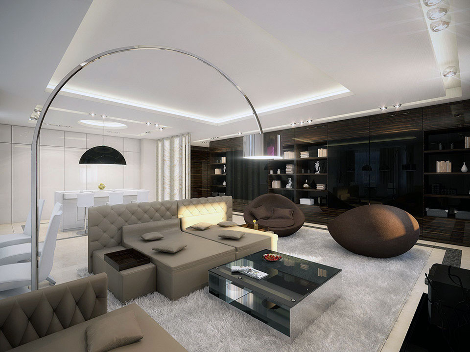 Open living room with beige sofa and white rugs unique modern living