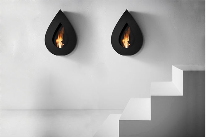 Flame Wall Black Teardrop Fireplace Design