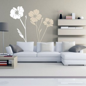 Flower Vinyl Wall Decal in Grey Room
