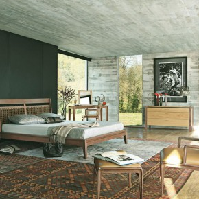 Grey Black Bedroom with Persian Rugs Decor