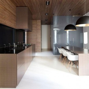 Kitchen Paneled with Tinted Pine Wood Slats