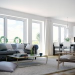 Large Space White Living Room with Leather Couch