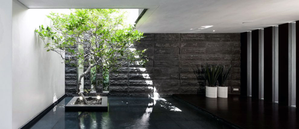 Lightwell Stone Cladding Iindoor Pond Ideas Interior