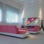Living Room with Pink Furniture Ideas